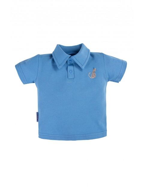 Bawełniany t-shirt NATURE z kołnierzykiem niebieski