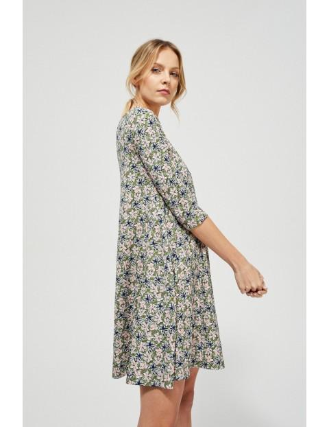 Sukienka o trapezowym kroju- khaki w kwiaty