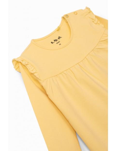 Bluzka dziewczęca z falbankami - żółta