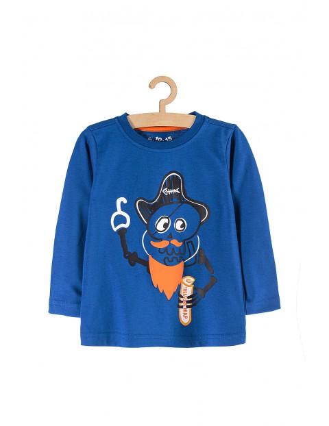 Bluzka dla chłopca niebieska z pirackimi nadrukami