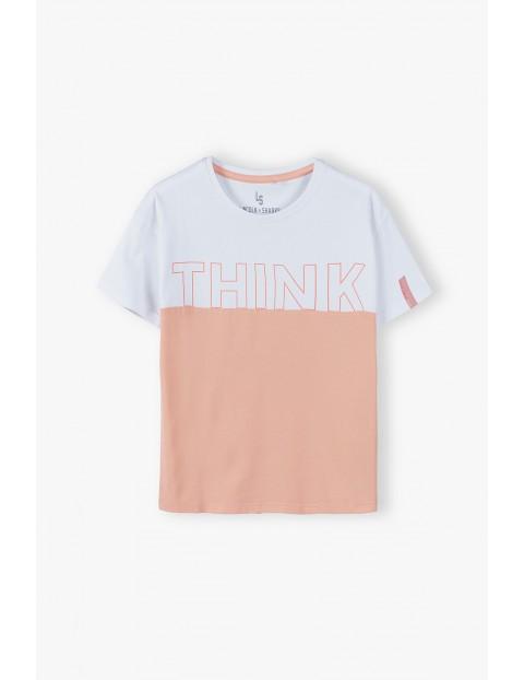 Bawełniany  T- shirt dziewczęcy z napisem Think- biało - różowy