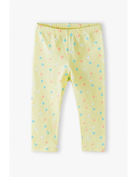 Leginsy 3/4  dziewczęce z kolorowe kropki - żółte