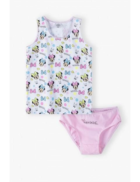 Bawełniany  komplet bielizny dziewczęcej Minnie Mouse  - koszulka na ramiączka + majtki - różowy