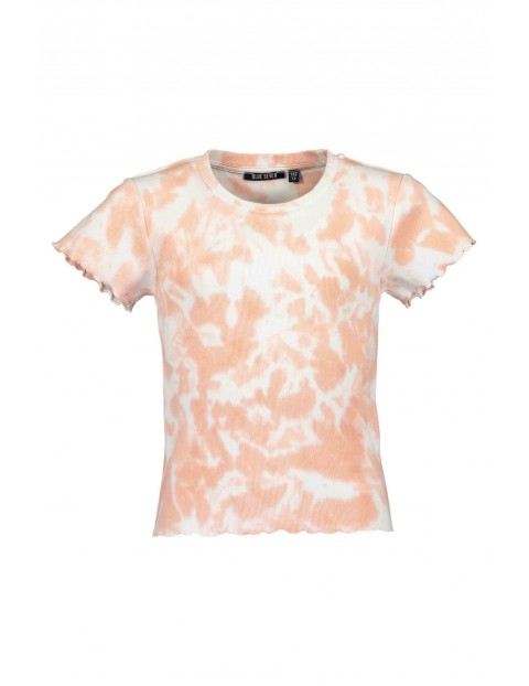 T-shirt dziewczęcy biało-pomarańczowy