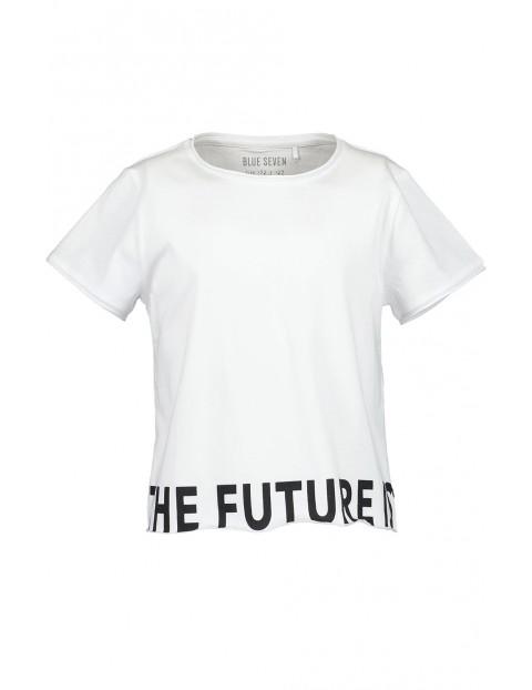 Koszulka dziewczęca biała z czarnym napisem