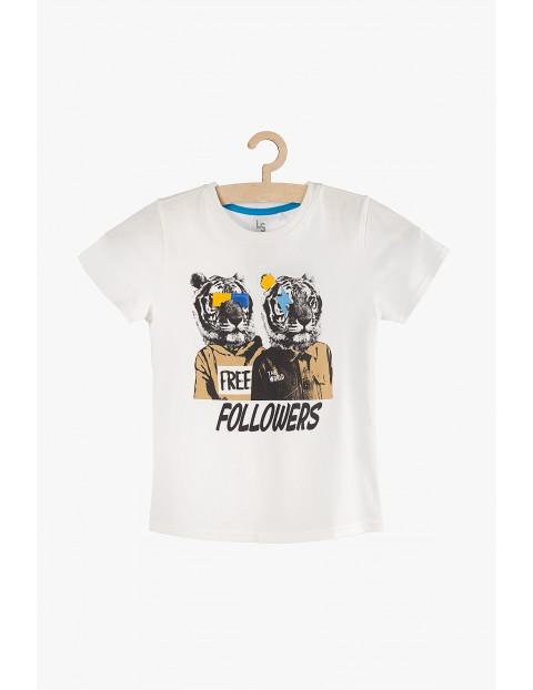 T-shirt chłopięcy bawełniany biały -Followers