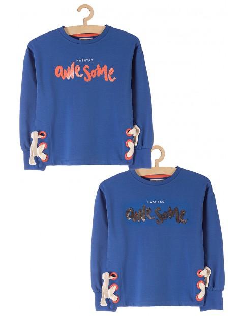 Bluza dresowa z cekinami dla dziewczynki - niebieska