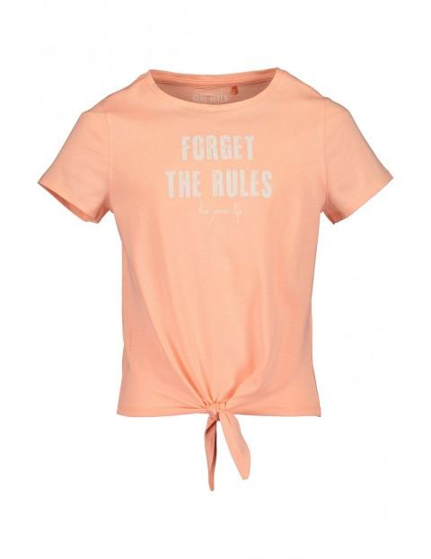 Koszulka dziewczęca brzoskwiniowa z napisem