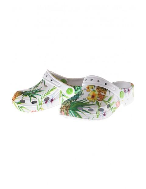 Buty dla dziewczynki- klapki ogrodowe w motywy kwiatowe