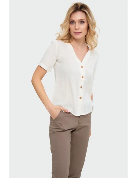 Biała bluzka z mieszanki wiskozy z lnem, dekolt V, krótki rękaw