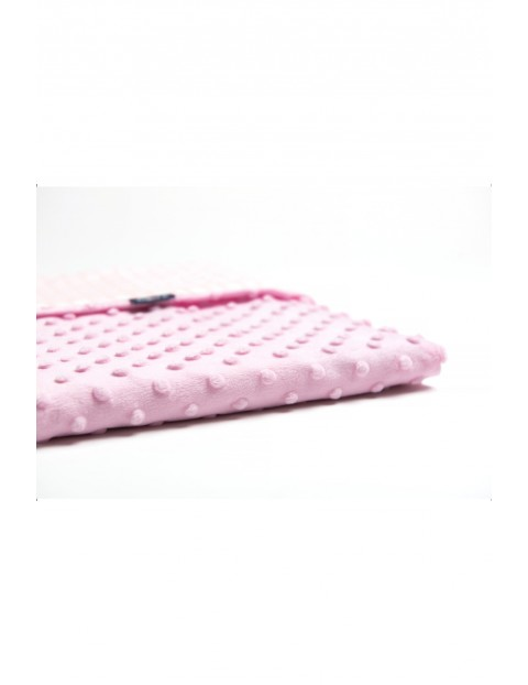 Koc Minky + Bawełna grochy różowo-białe 75 x 100 cm