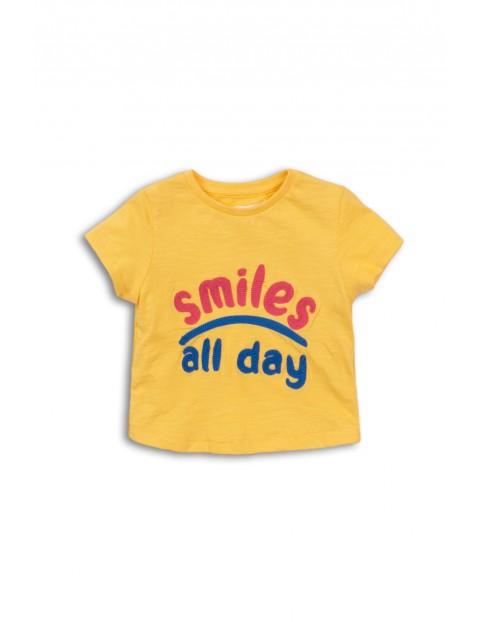 Żółty t-shirt dziewczęcy z napisem Smiles All Day