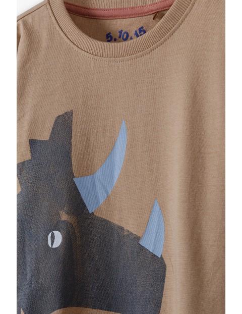 Bluzka chłopięca z długim rękawem- brązowa z dinozaurem