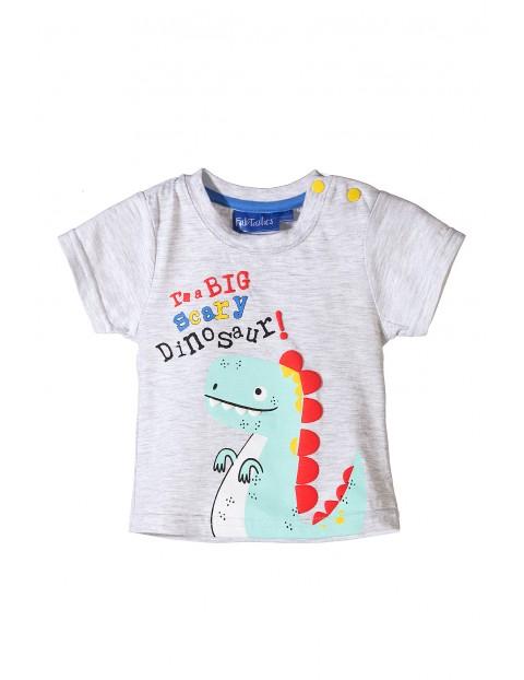 Tshirt niemowlęcy szary z dinozaurem