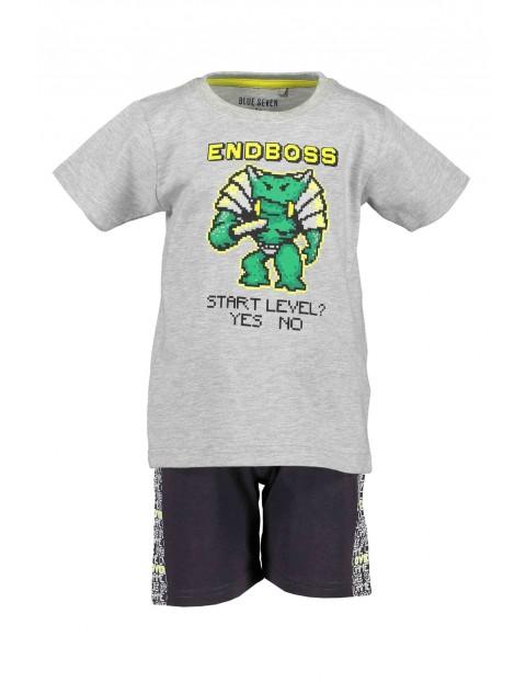 Komplet chłopięcy - szary t-shirt i ciemne spodenki