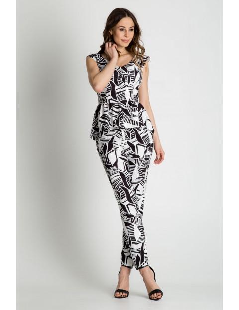 Bluzka damska - grube ramiączka biało - czarne wzory