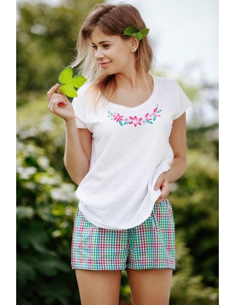 Piżama bawełniana - koszula i szorty w kratkę