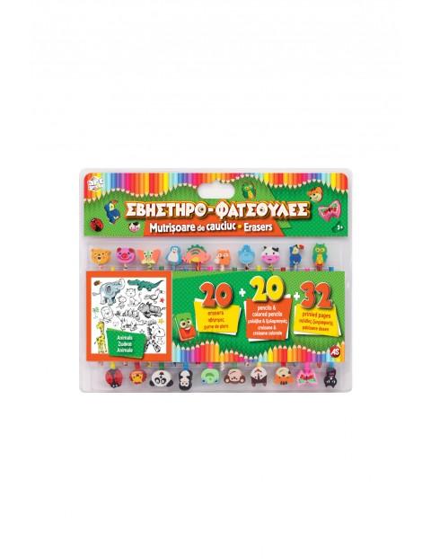 Zestaw kredek i gumek do mazania ZWIERZĘTA wiek 3+