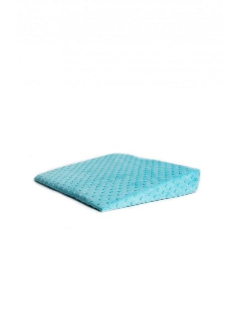 Poduszka klin minky 38 x 37 x 7 cm niebieski