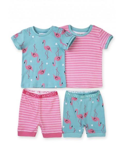 Piżama niemowlęca z krótkim rękawem Flamingi- 2pak