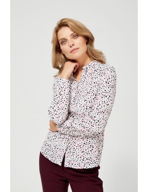 Biała wiskozowa koszula damska z kolorowym wzorem