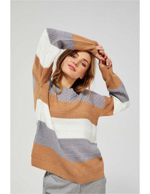 Luźny sweter damski w paski