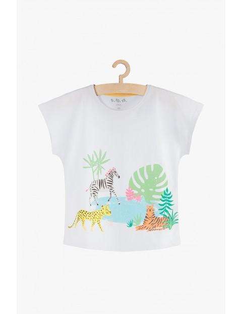 T-shirt dziewczęcy biały bawełniany- Safari