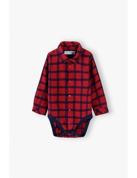 Bawełniane body niemowlęce w kratkę z kołnierzykiem - czerwone