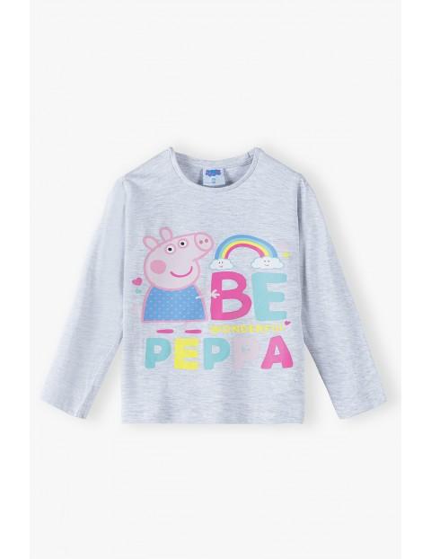 Świnka Peppa - szara bluzka z długim rękawem