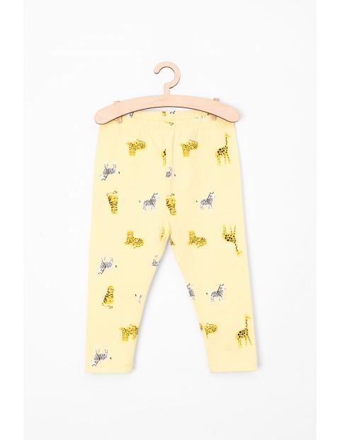 Leginsy niemowlęce żółte w zwierzaki