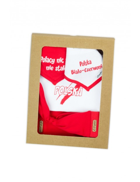 Bawełniany komplet Strefa Kibica  - chustka + 2x apaszka + body + spodenki - biało - czerwony
