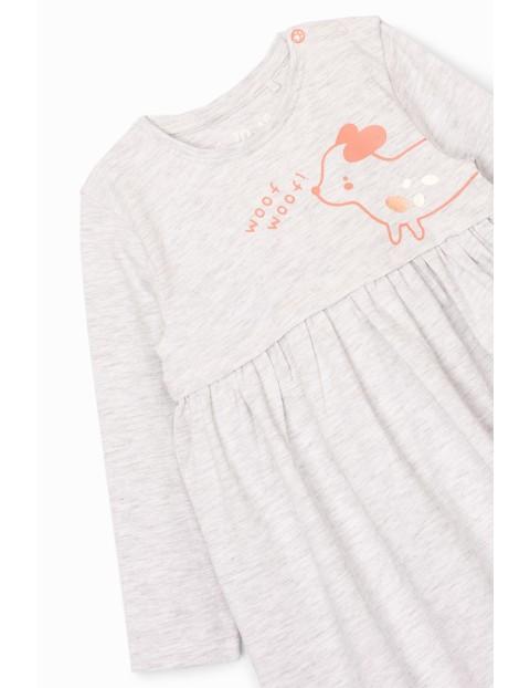 Body dziewczęce ze spódniczką z pieskiem - ecru