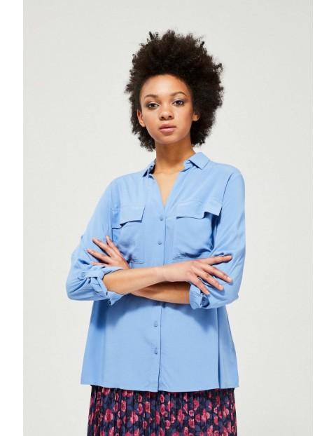 Niebieska rozpinana koszula damska z kieszeniami