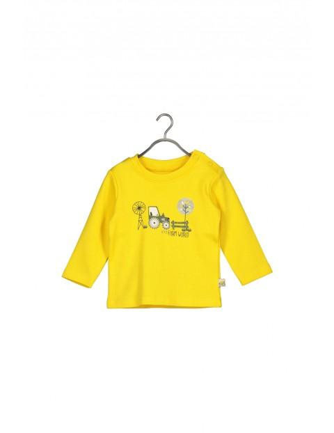 Bluzka z długim rękawem- żółta z traktorem