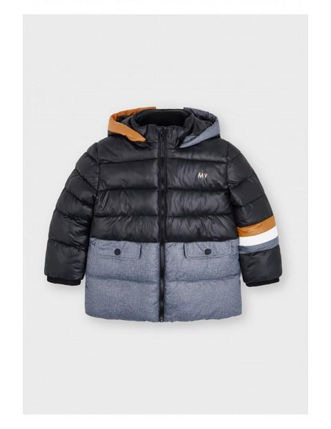 Kurtka chłopięca zimowa  z kapturem z łączonych materiałów - czarno - szara Mayoral