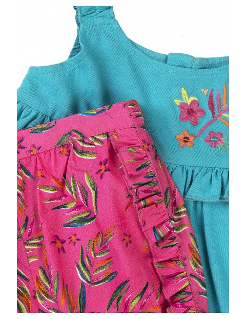 Bawełniany komplet dziewczęcy dwuczęściowy na lato