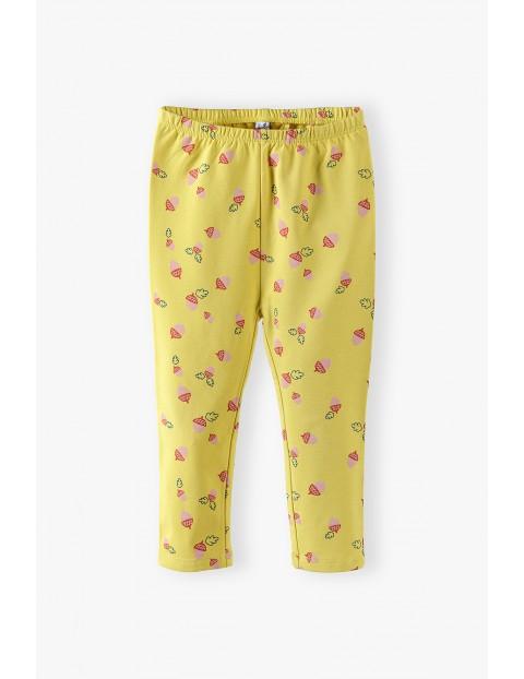 Legginsy niemowlęce w żołędzie - żółte