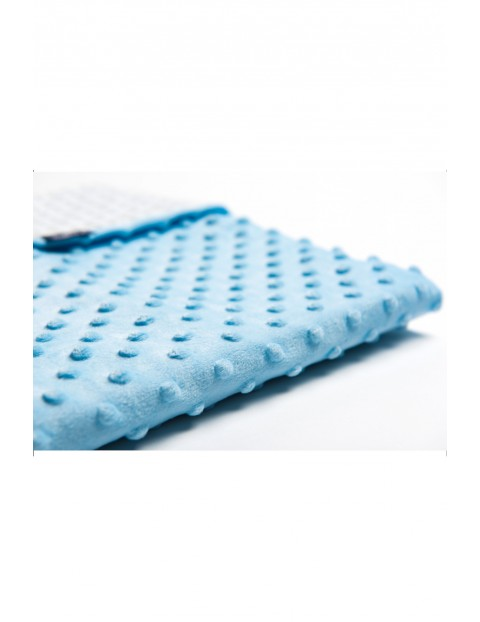 Koc Minky + Bawełna 75 x 100 cm niebieski grochy szaro-białe