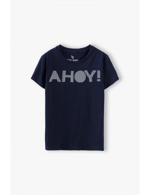 T-shirt chłopięcy w kolorze granatowym Ahoy