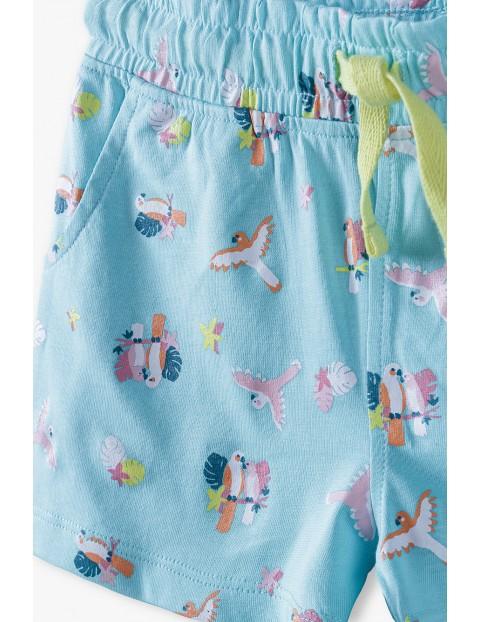 Szorty dziewczęce bawełniane we wzorki - niebieskie