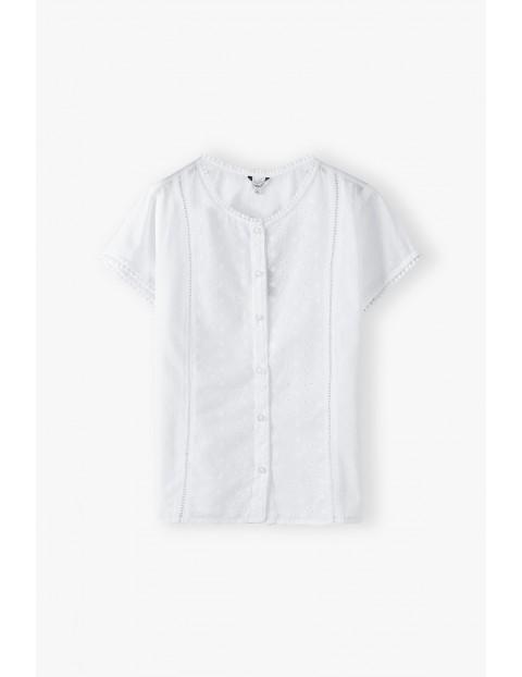 Biała bawełniana bluzka koszulowa damska