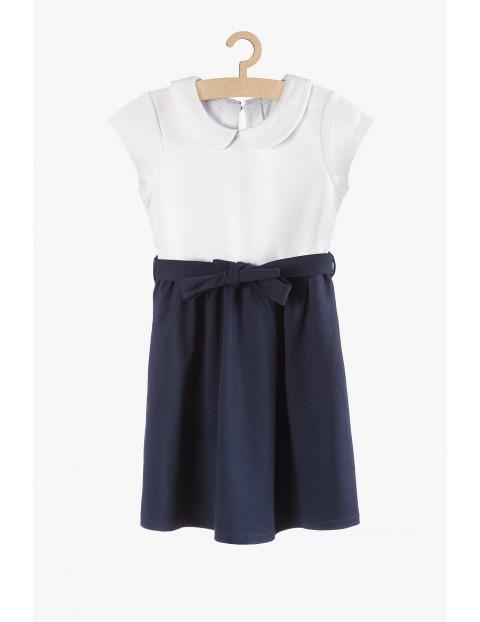 Sukienka biało-granatowa dla dziewczynki