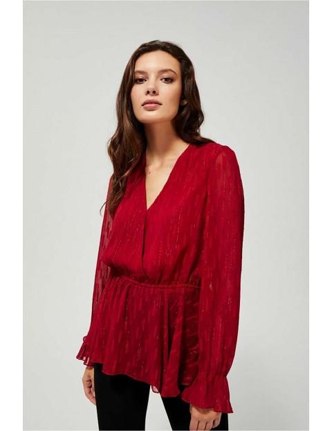Bluzka damska czerwona z falbaną