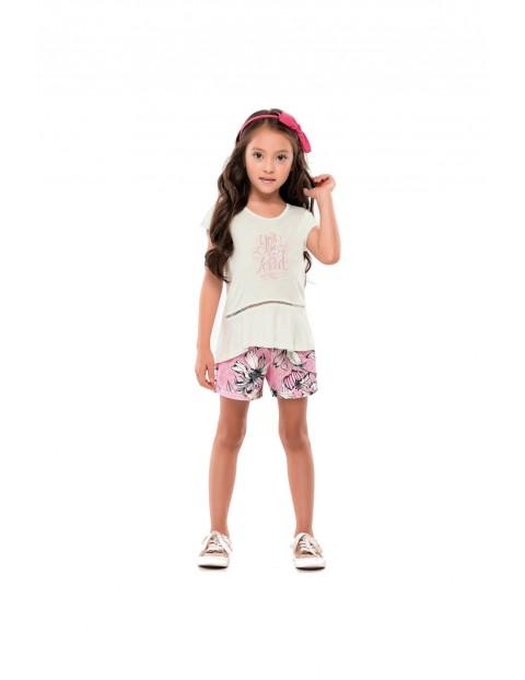 Komplet ubran dla dziewczynki t-shirt i różowe spodnie w kwiaty