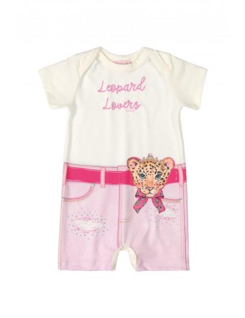 Rampers niemowlęcy z tygrysem - różowy