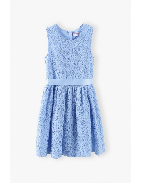 Elegancka koronkowa sukienka dziecięca - niebieska
