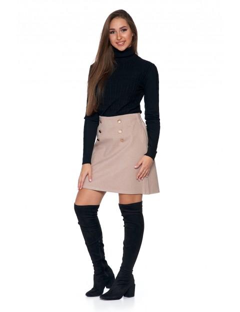 Sweter damski golf o splocie w prążki warkocz - czarny