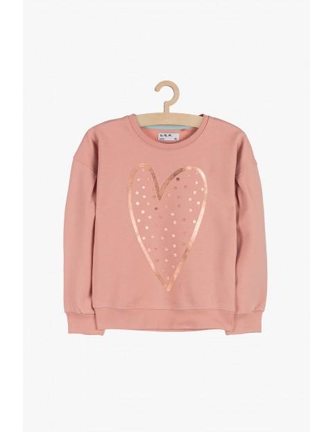 Bluza dresowa dziewczęca- różowa z holograficznym serduszkiem