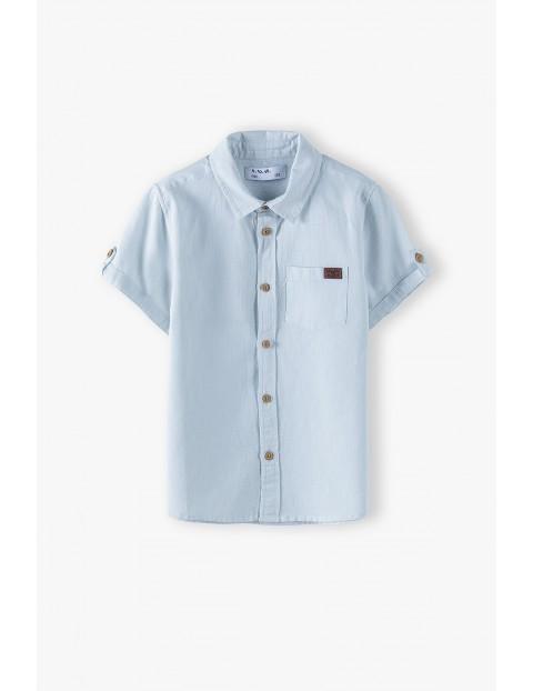 Koszula chłopięca z krótkim rękawem w kolorze błękitnym