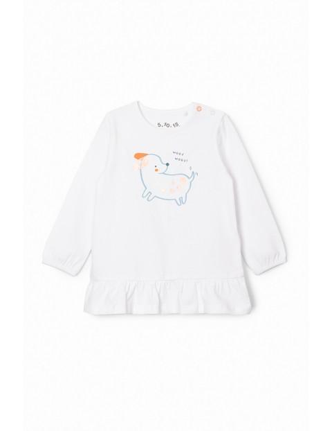 Bluzka dziewczęca z pieskiem - biała